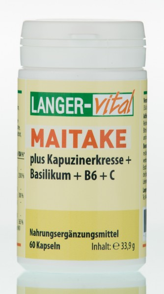 Maitake + Kapuzinerkresse + Basilikum + B6 + C + Selen + Zink, 60 Kapseln
